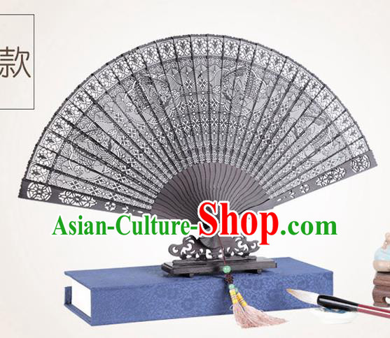 Chinese Traditional Crafts Sandalwood Folding Fans Pierced Phoenix Fans Accordion Fan