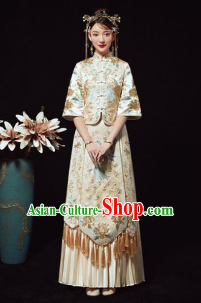 Chinese Traditional Wedding Costumes White Xiuhe Suits Ancient Bride Embroidered Dress for Women