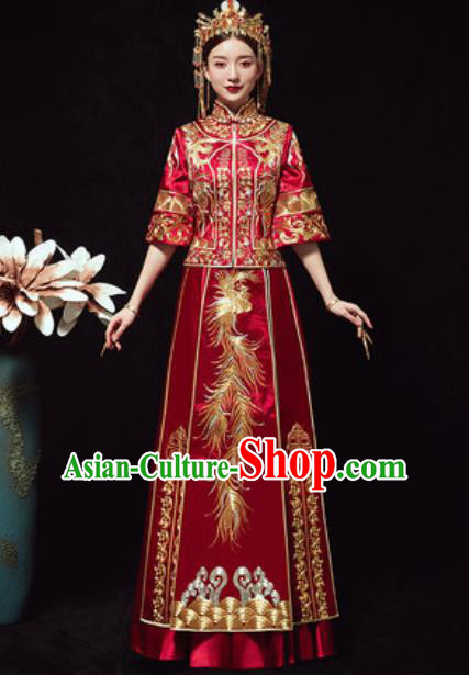 Traditional Chinese Wedding Embroidered Phoenix Costumes Xiuhe Suits Ancient Bride Dress for Women