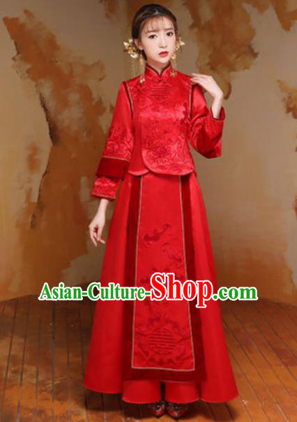 Traditional Chinese Wedding Costumes Ancient Bride Embroidered Red Silk Dress for Women