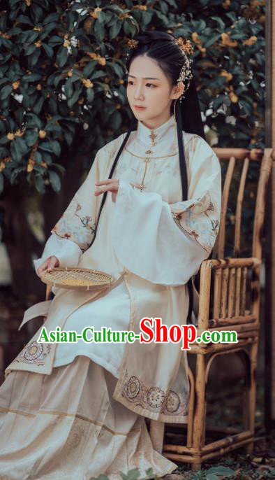 Chinese Ancient Ming Dynasty Nobility Lady Costumes Traditional Embroidered Hanfu Dress for Women