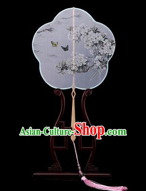 Traditional Chinese Crafts Palace Fans Hand Painting Fans Ancient White Silk Fan for Women