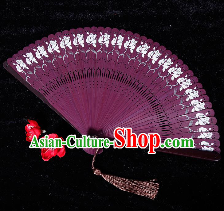 Chinese Traditional Crafts Purple Bamboo Folding Fans Pierced Fans Accordion Fan