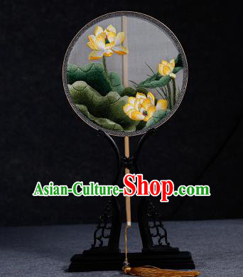 Chinese Ancient Princess Palace Fan Traditional Embroidered Yellow Lotus Hanfu Silk Fans for Women