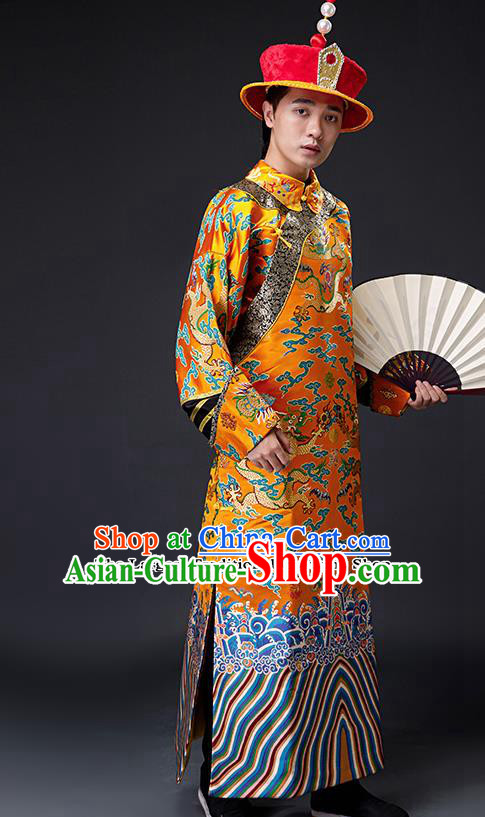 Chinese Ancient Drama Emperor Costumes Traditional Qing Dynasty Majesty Clothing and Hat for Men
