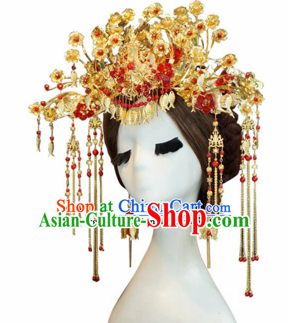 Chinese Ancient Wedding Queen Luxurious Phoenix Coronet Hair Jewelry Accessories Hairpins for Women