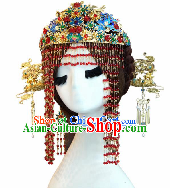 Chinese Ancient Wedding Queen Luxurious Blueing Lotus Phoenix Coronet Hair Jewelry Accessories Hairpins for Women