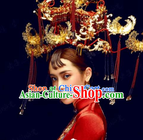 Chinese Ancient Wedding Queen Luxurious Phoenix Coronet Palace Hair Jewelry Accessories Hairpins for Women