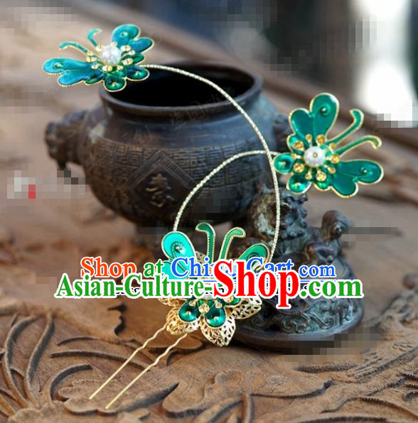 Chinese Ancient Wedding Hair Jewelry Accessories Blue Butterfly Hairpins for Women
