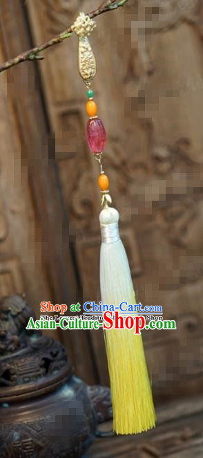 Chinese Traditional Palace Yellow Tassel Brooch Ancient Bride Hanfu Breastpin Jewelry Accessories for Women