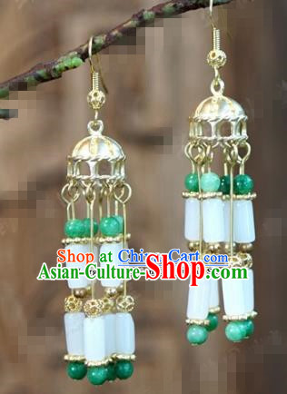 Chinese Traditional Palace Jade Tassel Earrings Ancient Bride Hanfu Jewelry Accessories for Women