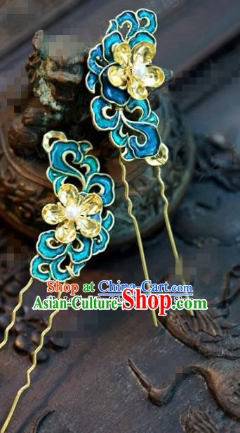 Chinese Ancient Bride Hair Accessories Wedding Palace Blueing Hair Clip Hairpins for Women