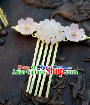 Chinese Ancient Bride Hair Accessories Wedding Palace Pink Flowers Hair Comb Hairpins for Women