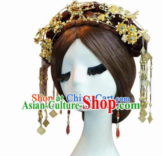 Chinese Ancient Bride Hair Accessories Wedding Headdress Hairpins Complete Set for Women