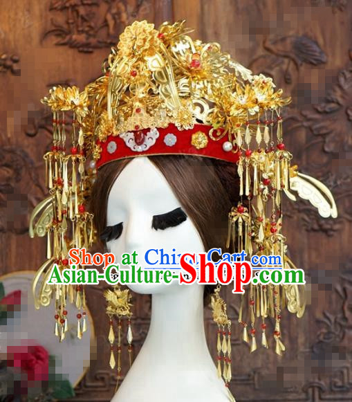 Chinese Ancient Queen Golden Phoenix Coronet Wedding Bride Hairpins Headdress for Women