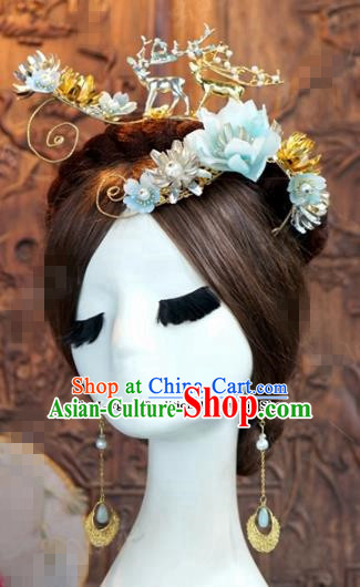 Chinese Ancient Queen Blue Flowers Hair Clip Wedding Bride Hairpins Headdress for Women