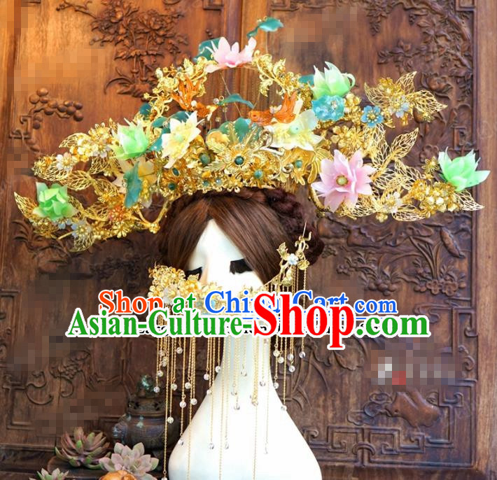Chinese Ancient Queen Luxurious Lotus Flowers Phoenix Coronet Wedding Bride Headdress Hairpins for Women
