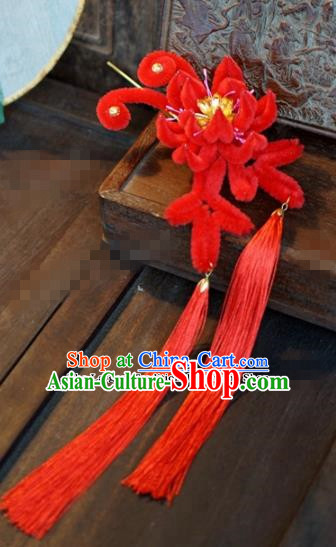 Chinese Ancient Queen Tassel Hair Clip Wedding Bride Headdress Red Velvet Flower Hairpins for Women
