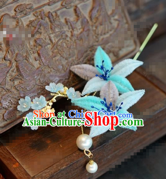 Chinese Ancient Queen Blue Velvet Flowers Hair Clip Wedding Bride Headdress Hairpins for Women