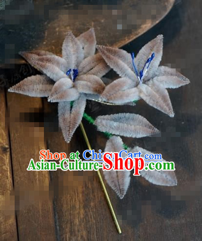 Chinese Ancient Qing Dynasty Empress Hair Clip Palace Grey Flowers Hairpins for Women