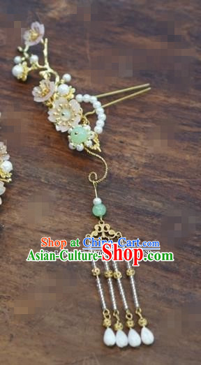 Chinese Ancient Bride Hair Accessories Wedding Tassel Pearls Hairpins for Women