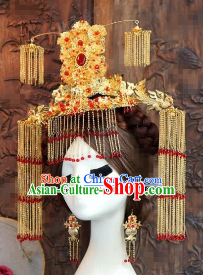 Chinese Ancient Empress Phoenix Coronet Palace Tassel Hairpins for Women
