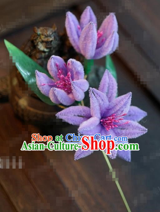 Chinese Ancient Empress Purple Flowers Hair Clip Palace Hairpins for Women