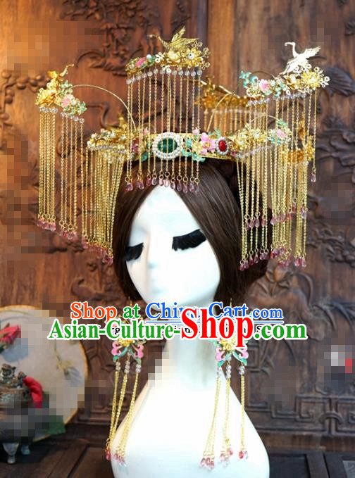 Chinese Ancient Bride Hair Accessories Wedding Tassel Phoenix Coronet Crane Hairpins for Women
