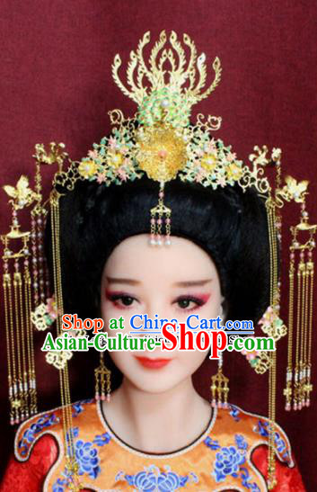 Chinese Ancient Peri Headdress Tang Dynasty Imperial Consort Phoenix Coronet Hairpins Complete Set for Women