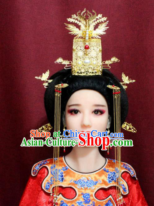 Chinese Ancient Queen Headdress Tang Dynasty Empress Phoenix Coronet Hairpins Complete Set for Women