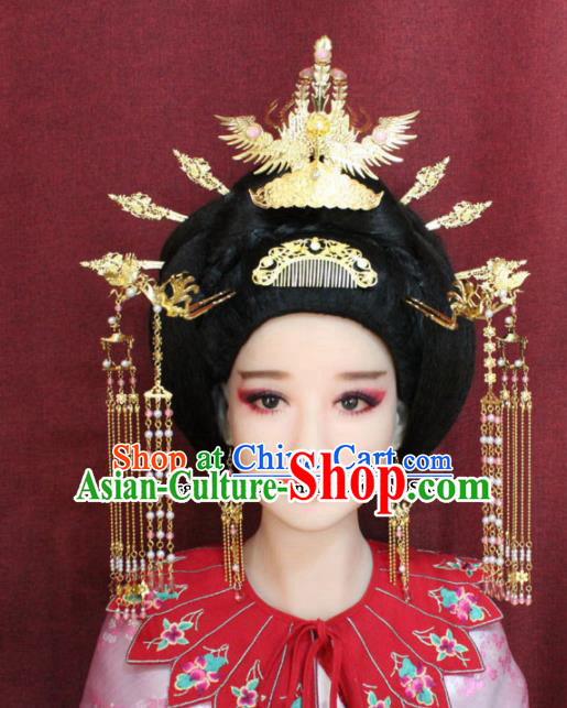 Chinese Ancient Queen Phoenix Headdress Tang Dynasty Empress Coronet Hairpins Complete Set for Women