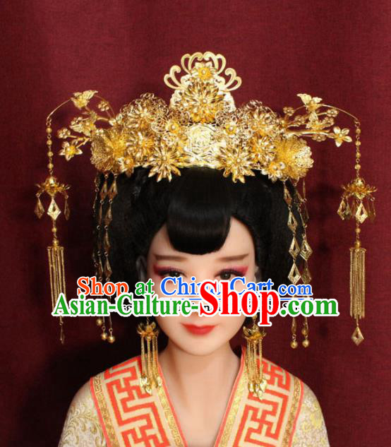 Chinese Ancient Tang Dynasty Imperial Consort Headdress Palace Phoenix Coronet Hairpins Complete Set for Women
