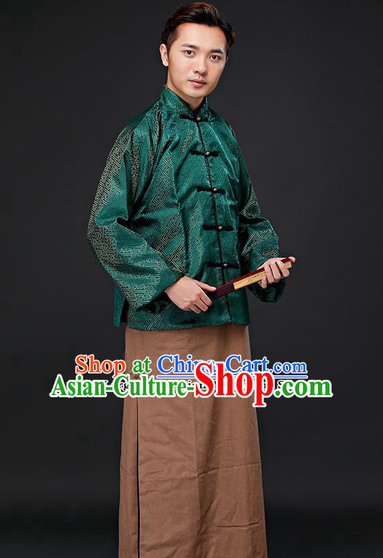 Chinese Ancient Republican Period Landlord Costumes Long Robe and Green Mandarin Jacket for Men