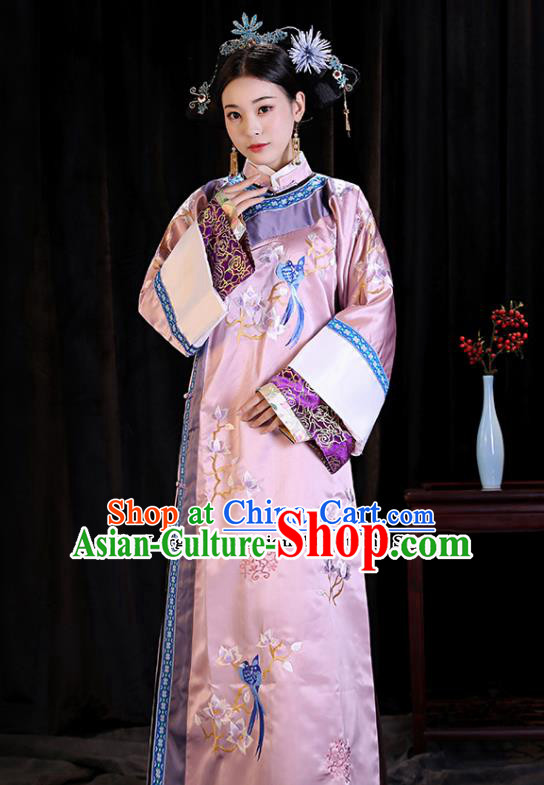 Chinese Ancient Drama Qing Dynasty Manchu Imperial Concubine Embroidered Costumes and Headpiece Complete Set