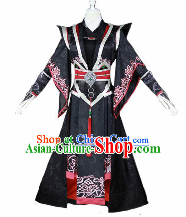 Chinese Traditional Cosplay Nobility Lady Female Knight Black Costumes Ancient Swordswoman Dress for Women