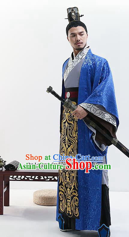Chinese Ancient Drama King Swordsman Costume Traditional Qin Dynasty Emperor Costumes for Men