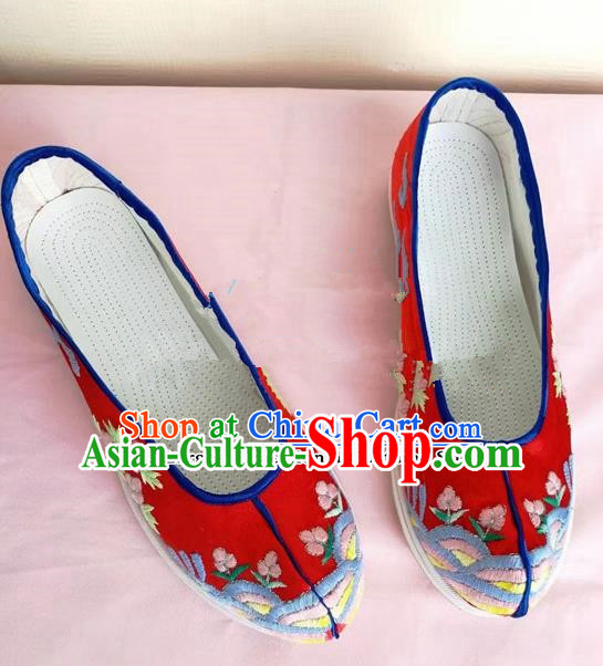 Chinese Traditional Hanfu Shoes Red Embroidered Shoes Handmade Cloth Shoes for Women