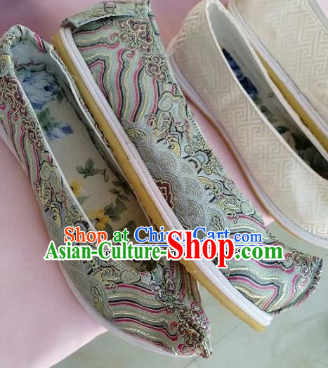 Chinese Traditional Hanfu Shoes Grey Embroidered Shoes Handmade Cloth Shoes for Women