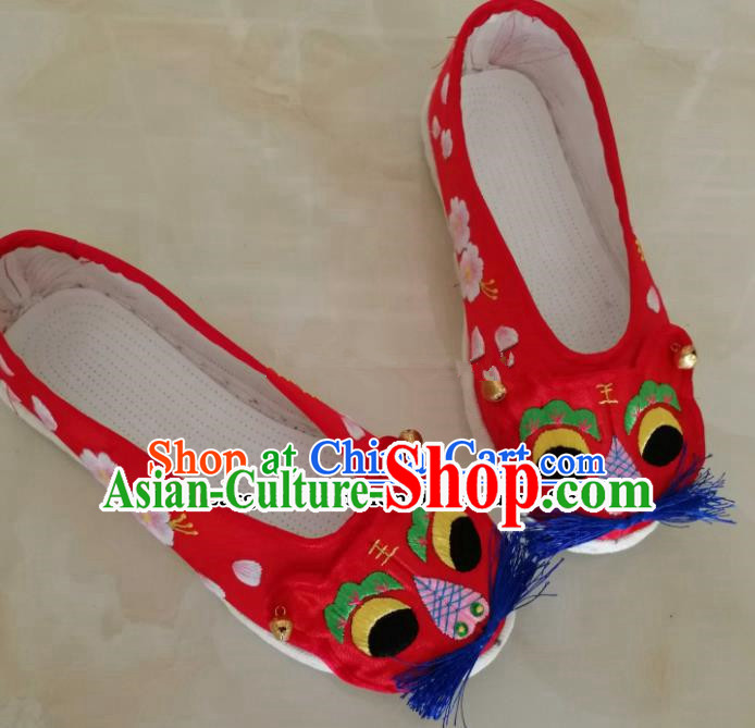 Chinese Traditional Hanfu Shoes Embroidered Tiger Head Shoes Handmade Cloth Shoes for Women