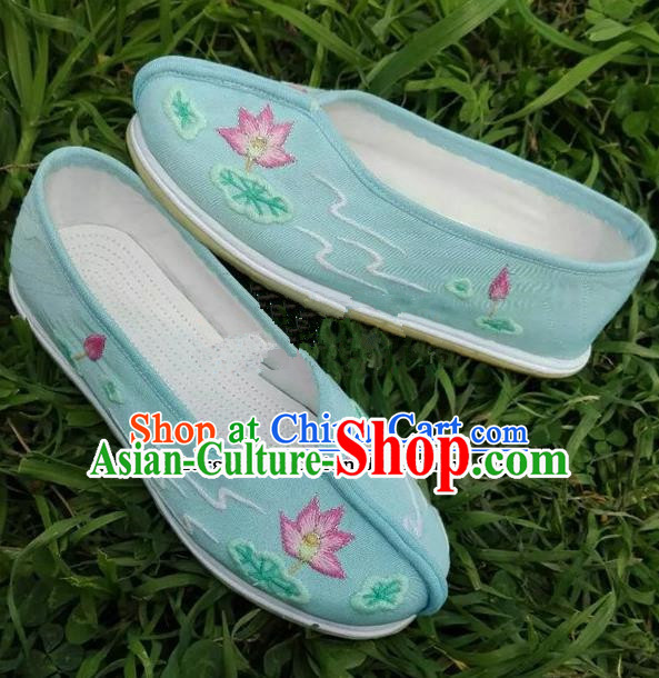 Chinese Traditional Hanfu Shoes Ancient Princess Blue Embroidered Shoes Handmade Cloth Shoes for Women