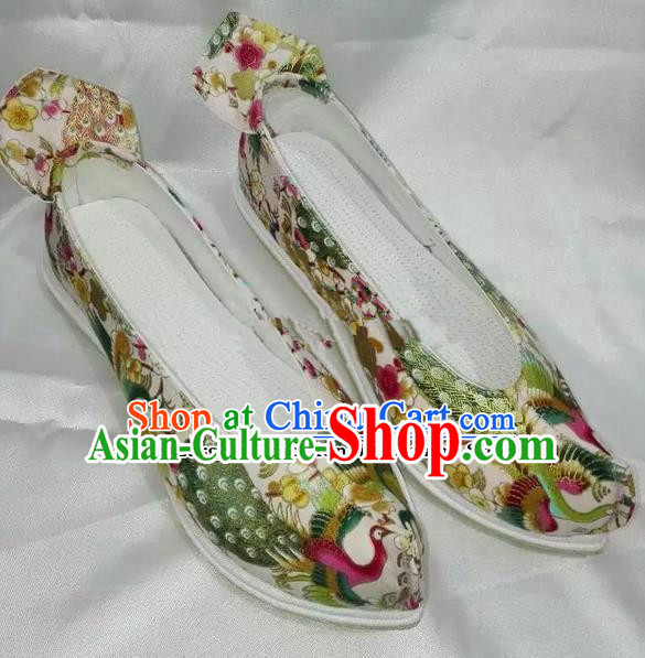 Chinese Traditional Hanfu Shoes Ancient Princess Printing Peacock Shoes Handmade Cloth Shoes for Women