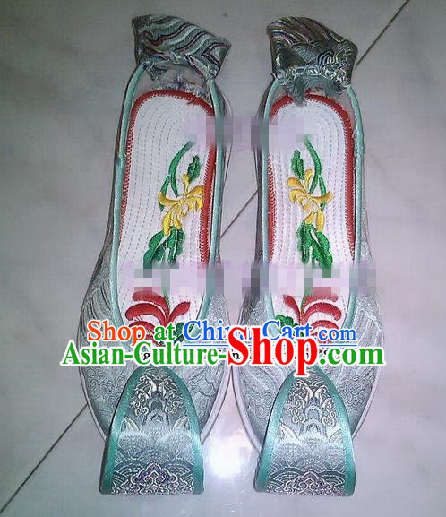 Chinese Traditional Hanfu Shoes Ancient Princess Green Satin Embroidered Shoes Handmade Shoes for Women