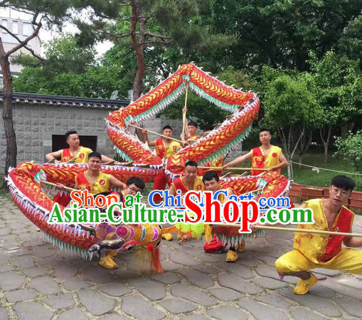 World Dragon Dance Competition Red Dragon Head Chinese Traditional Dragon Dance Costumes Complete Set for Adult