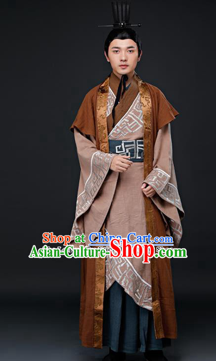 Chinese Ancient Swordsman Clothing Traditional Qin Dynasty Minister Embroidered Costumes for Men