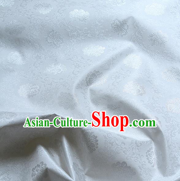Traditional Asian Classical Lotus Pattern Cloth Drapery White Brocade Korean Hanbok Palace Satin Silk Fabric
