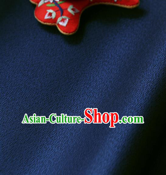 Traditional Asian Classical Navy Brocade Cloth Drapery Korean Hanbok Palace Satin Silk Fabric