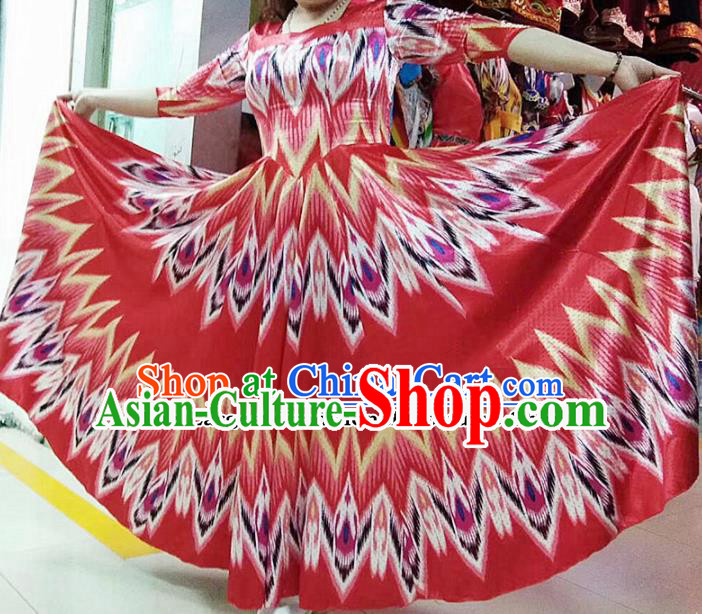 Chinese Ethnic Folk Dance Red Dress Traditional National Uyghur Nationality Costumes for Women