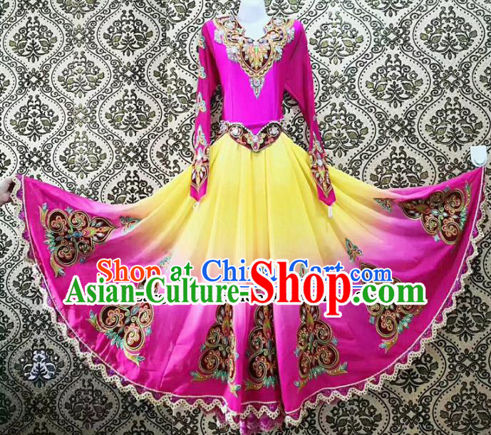Chinese Ethnic Folk Dance Rosy Dress Traditional National Uyghur Nationality Costumes for Women