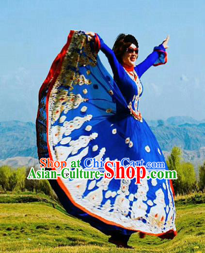Chinese Ethnic Folk Dance Deep Blue Dress Traditional National Uyghur Nationality Costumes for Women