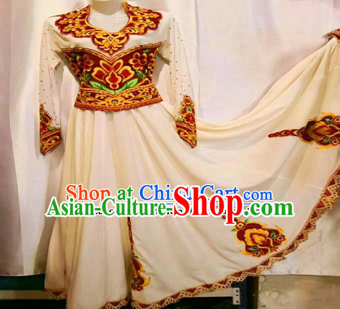 Chinese Ethnic Minority Folk Dance Embroidered White Dress Traditional National Uyghur Nationality Costumes for Women